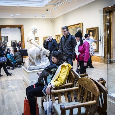 People sat in a museum