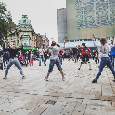 Hull City Centre group of people dancing