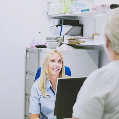 NHS worker talking to patient