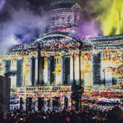 "Image of ""We Are Hull"" projected onto City Hall"