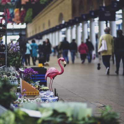 Shop with flamingo in bus station