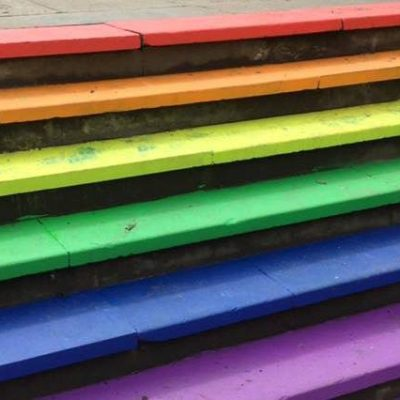 Steps coloured in LGBT colours