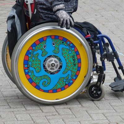 Colourful vibrant wheelchair