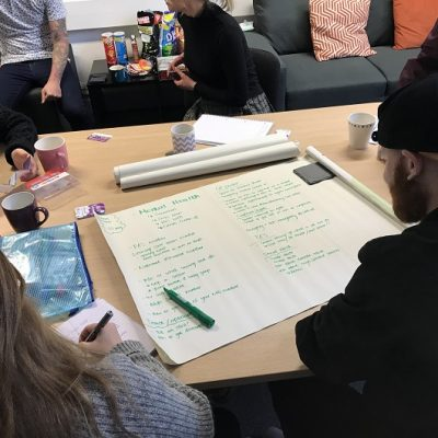 Group of people are sat writing on a big piece of paper